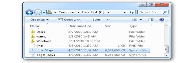 hiberfil.sys – что это за файл и каким образом его можно удалить?
