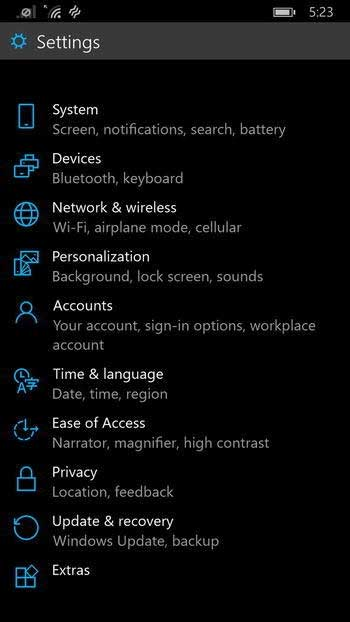 параметры-Windows-10-Phone
