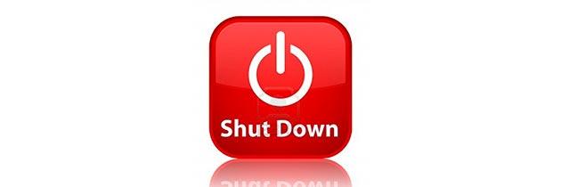 Кнопка выключения на рабочем столе или shutdown.