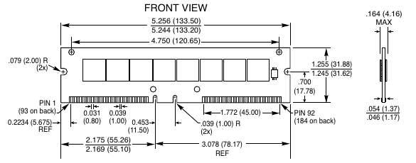 Типичный 184-контактный DDR DIMM.