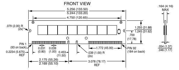 Типичный 184-контактный RIMM (RIMM модули или RDRAM).