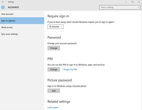 настройки пароля