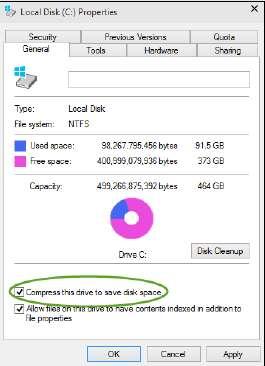 сжатие NTFS на весь диск