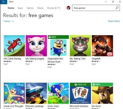 Бесплатные игры в Магазине Windows.