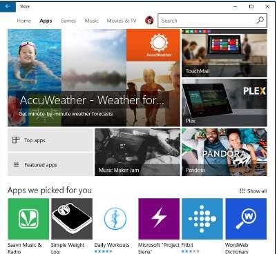 приложения Windows Store