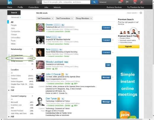 связи в LinkedIn